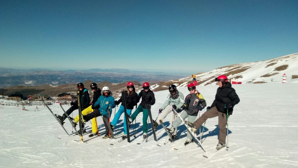 Group ski lessons with Blanca Nieve ski and snowboard school