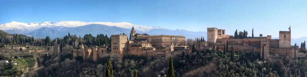 Views of La Alhambra and Sierra Nevada at the back